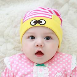 HT438••หมวกเด็ก•• / หมวกบีนนี่-ดวงตา (สีชมพู/ขอบเหลือง)