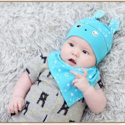 AP218••เซตหมวก+ผ้ากันเปื้อน•• / นกฮูก [สีฟ้า]