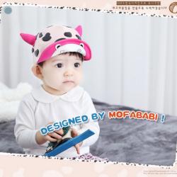HT321••หมวกเด็ก•• / หมวกแก็ป-ลายวัว (สีชมพูอ่อน)