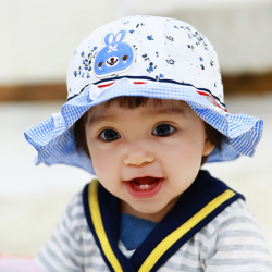 HT490••หมวกเด็ก•• / หมวกปีกกว้าง-Rabbit (สีฟ้า)