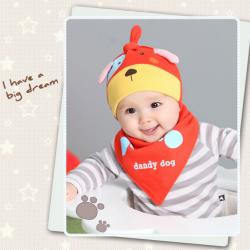 AP213••เซตหมวก+ผ้ากันเปื้อน•• / Dog [สีแดง]