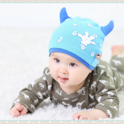 HT399••หมวกเด็ก•• / หมวกบีนนี่-เลขคู่ (สีฟ้า)