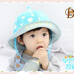 HT459••หมวกเด็ก•• / หมวกปีกกว้าง-bubbles (สีฟ้า)