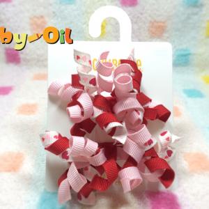 HP005••กิ๊บติดผมเด็ก•• / พู่หัวใจโทนสีชมพู (Gymboree)
