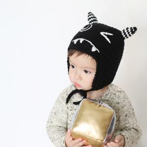 HT512••หมวกเด็ก•• / หมวกไหมพรม-ปีศาจหูตั้ง (สีดำ)