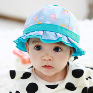 HT480••หมวกเด็ก•• / หมวกปีกกว้าง-กระต่าย (สีฟ้า)