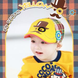 HT515••หมวกเด็ก•• / หมวกเบเร่ต์นายหนวด [สีเหลือง]