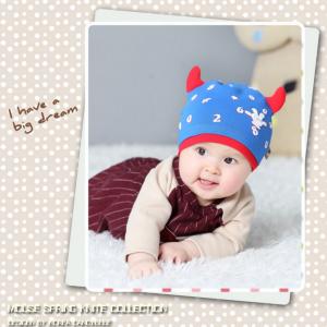 HT402••หมวกเด็ก•• / หมวกบีนนี่-เลขคู่ (สีน้ำเงิน)