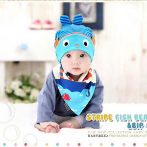 AP127••เซตหมวก+ผ้ากันเปื้อน•• / [สีฟ้า+น้ำเงิน] ปลา