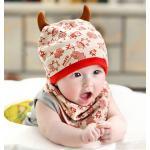 เซตหมวกเด็ก+ผ้ากันเปื้อน - สีเบจ