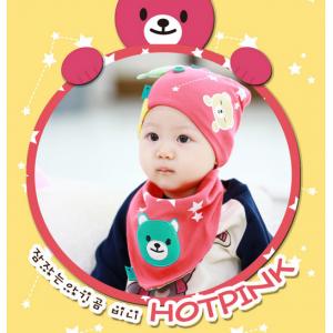 AP107••เซตหมวก+ผ้ากันเปื้อน•• / [สีชมพูเข้ม] น้องหมี