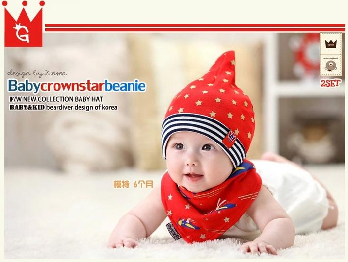 AP073••เซตหมวก+ผ้ากันเปื้อน•• / [สีแดง] ดวงดาว