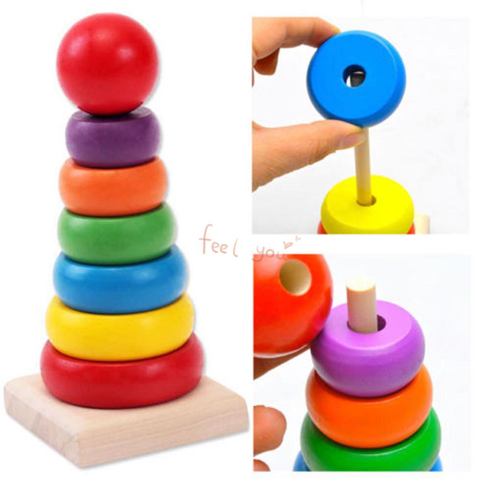 ของเล่นไม้ เรียงห่วงสวมหลัก Rainbow Tower ขนาดสูง 15.5 ซม.