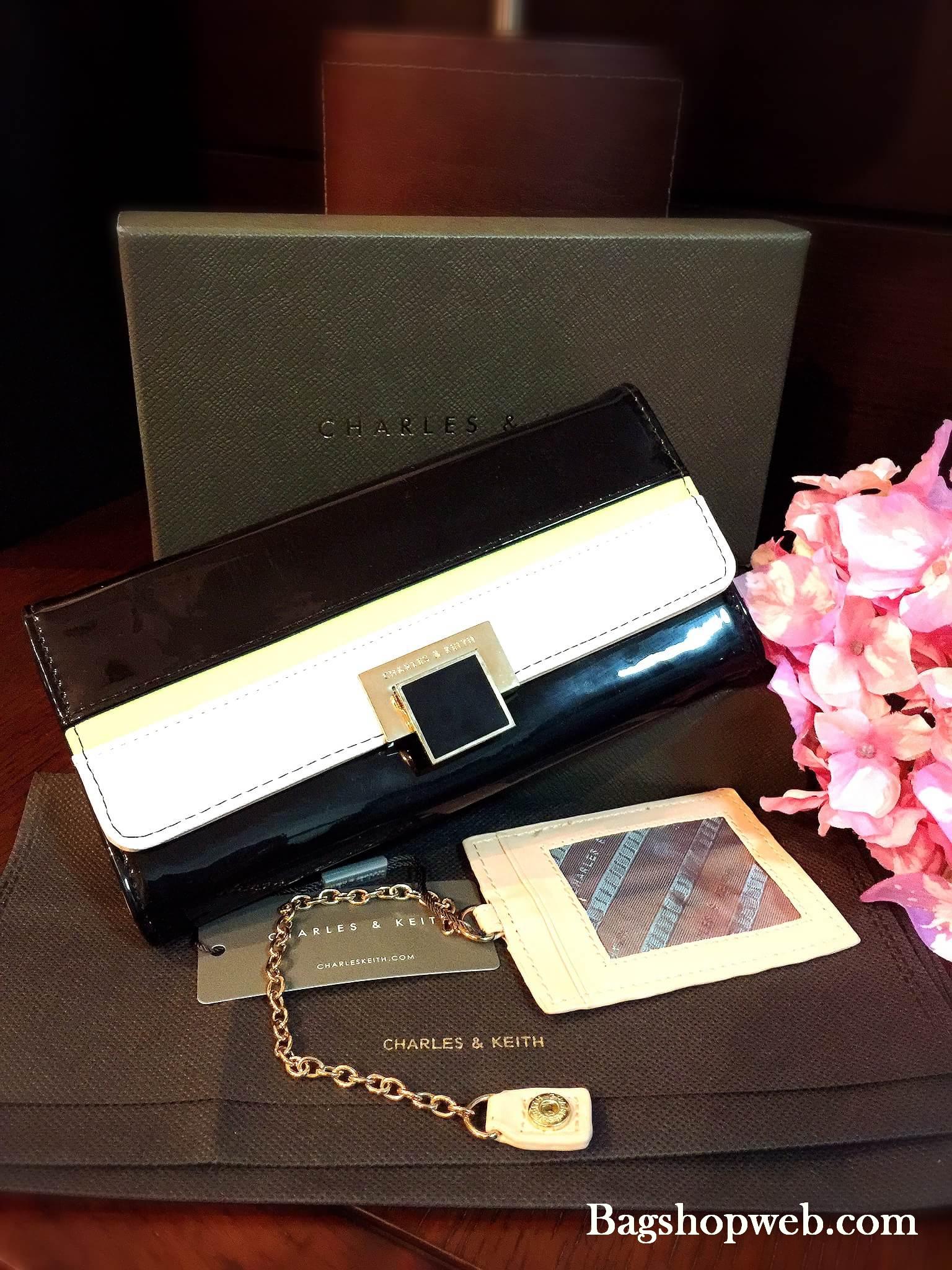 กระเป๋าสตางค์ CHARLES&KEITH Turn-Luck Wallet กระเป๋าสตางค์ใบยาวดีไซน์สวยเปิดปิดด้วยตัวลอคอะไหล่ทองปั้มโลโก้ CK