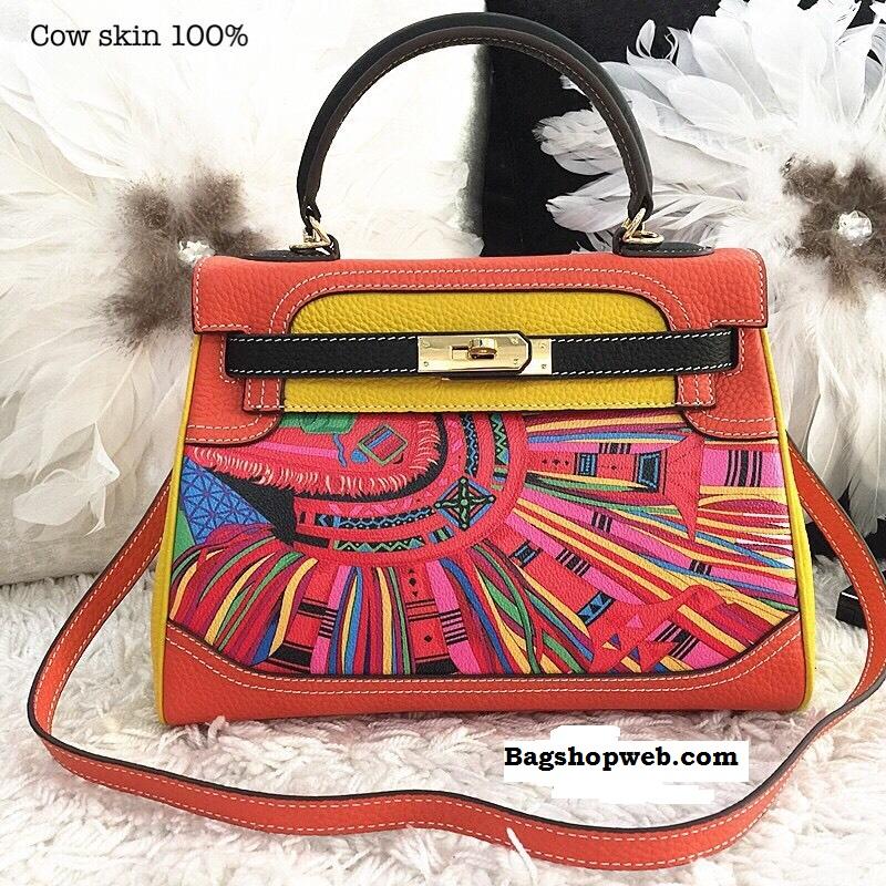 กระเป๋าหนังแท้ทรงยอดฮิต สไตล์Hermes kelly paint original size fashion bag