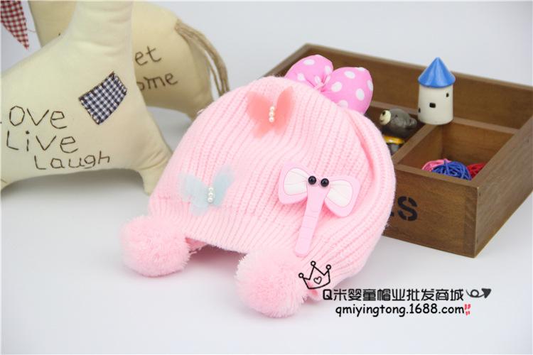หมวกถัก(ช้างน้อย)สีชมพู