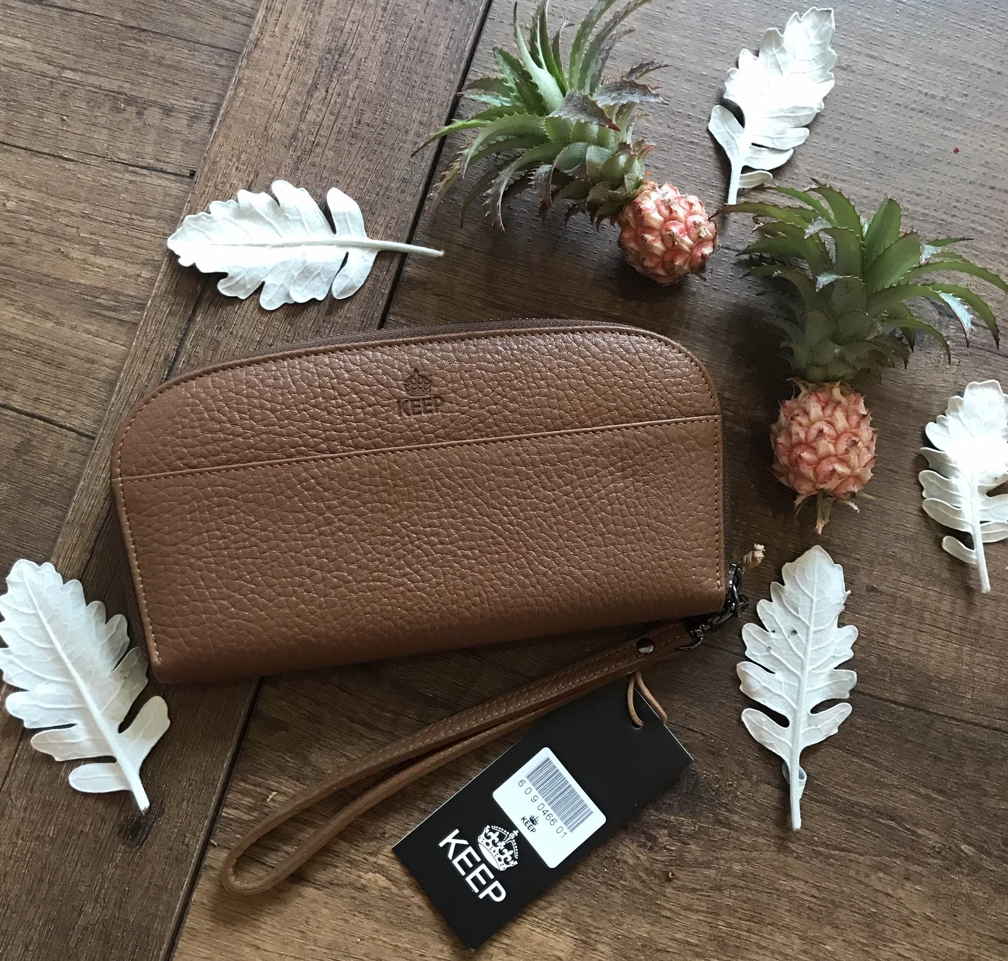 KEEP Gissy zipper Genuie Leather Wallet 2017 สีน้ำตาล