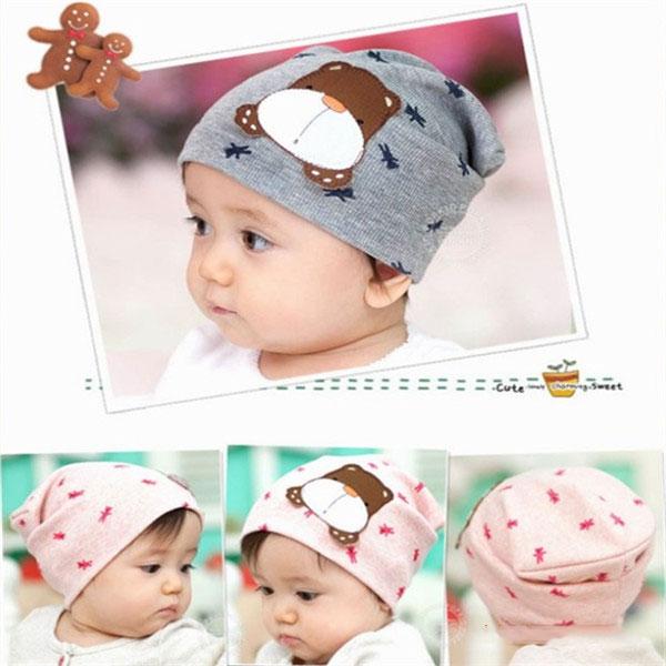 หมวกเด็กอ่อนเกาหลี ลายหมี สำหรับเด็กวัย 3 - 12 เดือน