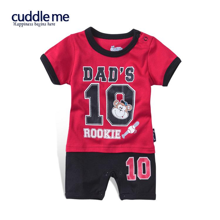 ชุดจั๊มสูทเด็ก Cuddle me ลาย Dad's 10 Rookie สีแดงสลับดำ