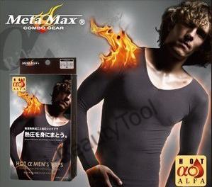 META MAX เสื้อยืดผู้ชายคอวีแขนยาวสลายไขมัน