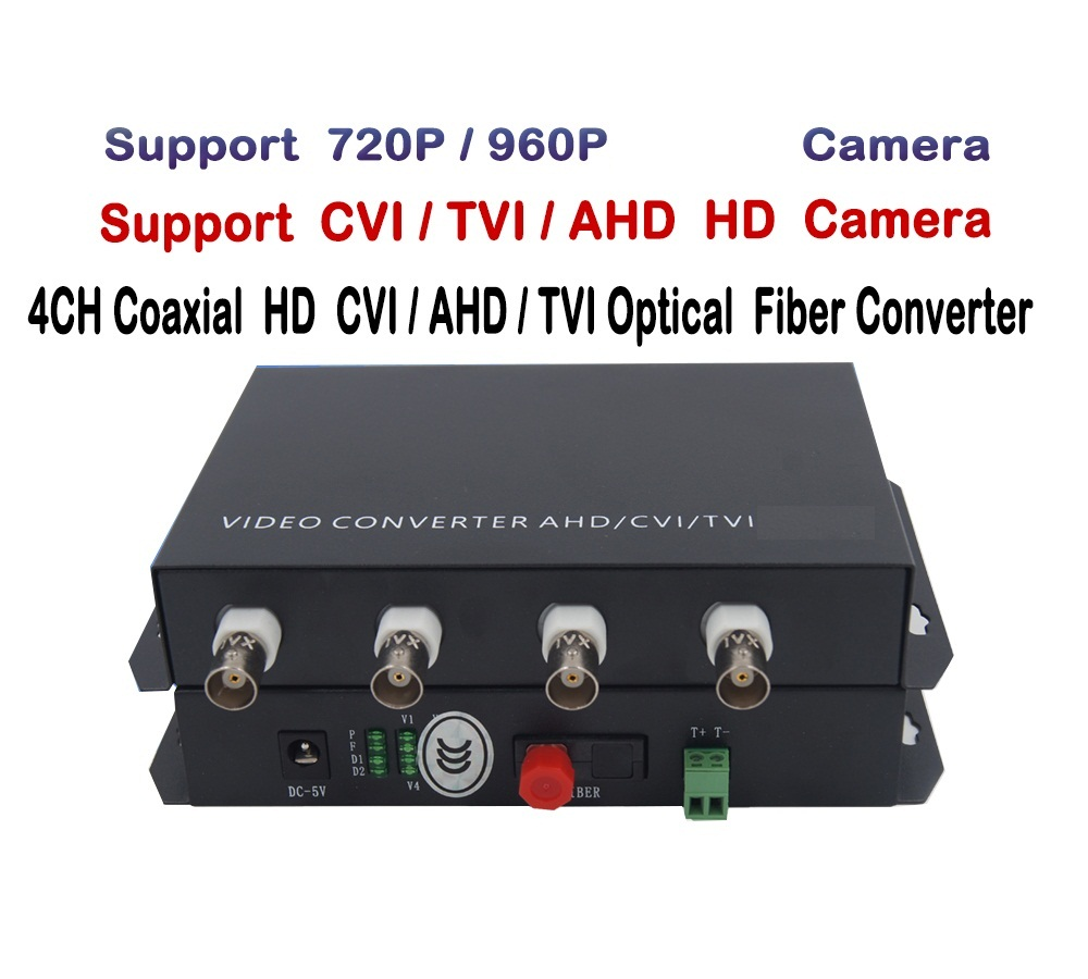 4ch 1.3MP 960P/720P HD video AHD CVI TVI Fiber optical converter transceiver, single-mode single fiber 20KM, FC fiber port