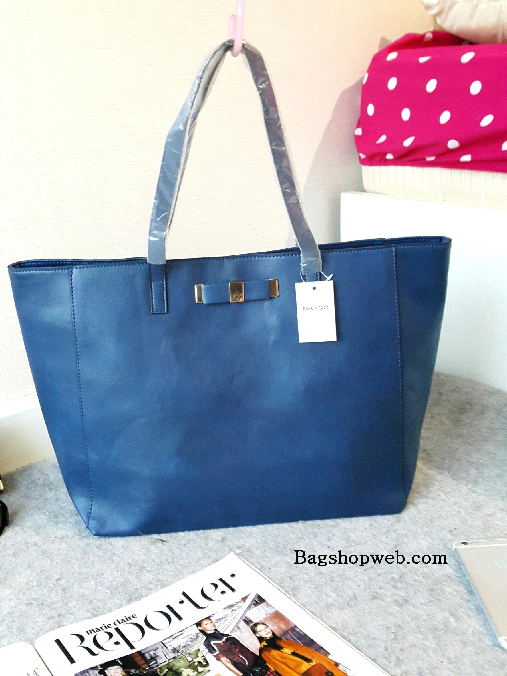 MANGO SHOPPER BAG WITH BOW DETAIL กระเป๋าทรง Shopping หนังสุดคลาสิค ดีไซน์ เก๋ แบบ 2in1 รุ่นฮิต ยี่ห้อ Mango แท้ รุ่น Shopping Bag พร้อมส่ง