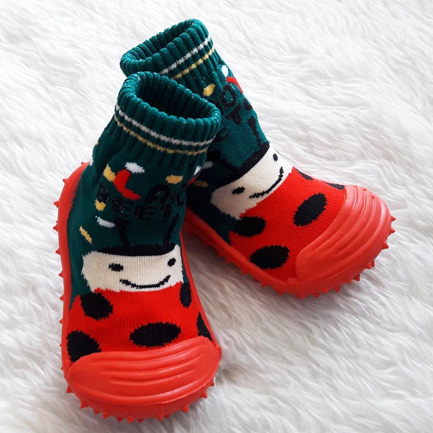 รองเท้าถุงเท้าพื้นยางหัดเดิน ลายเต่าทอง size 19-23