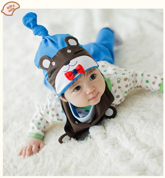 AP179••เซตหมวก+ผ้ากันเปื้อน•• / หมี [สีน้ำตาล+ฟ้า]