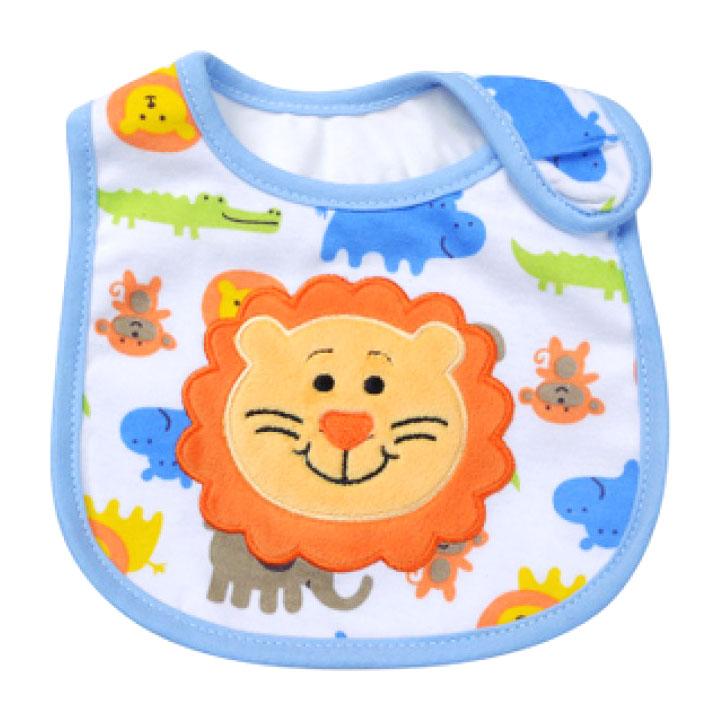 ผ้ากันเปื้อน Carter's ลายสิงโต กุ้นสีฟ้า