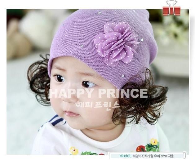 หมวกไหมพรมเด็กเล็ก มีปอยผมแกะสองข้างน่ารัก
