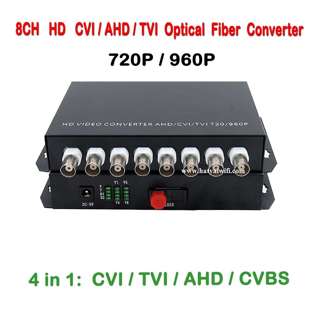 8ch 1.3MP 960P/720P HD video AHD CVI TVI Fiber optical converter transceiver, single-mode single fiber 20KM, FC fiber port