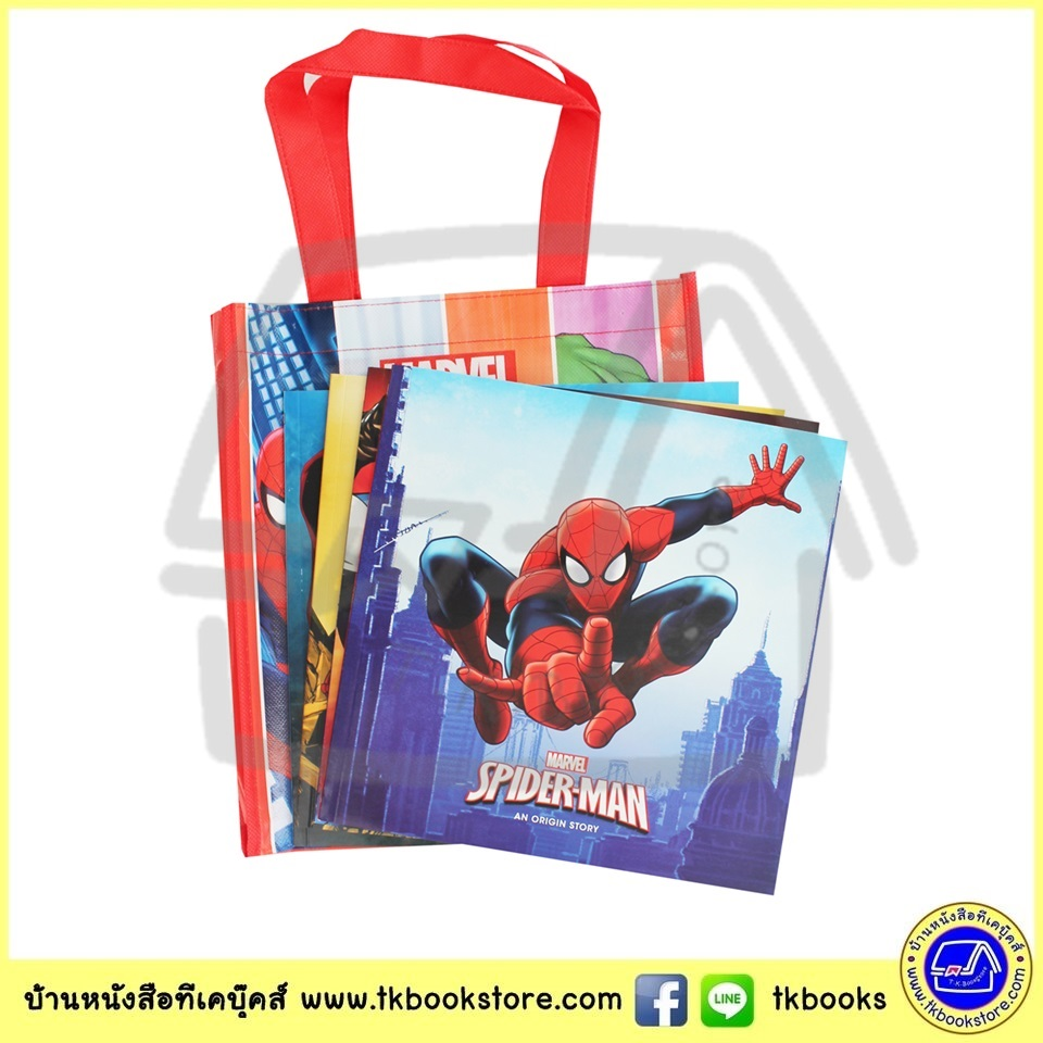 Marvel 4 Super Story Books Bag Set มาร์เวล ซุปเปอร์ฮีโร่ Avengers Iron Man Spiderman Captain America
