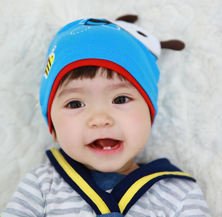HT444••หมวกเด็ก•• / หมวกบีนนี่-ผีเสื้อ (สีฟ้า)