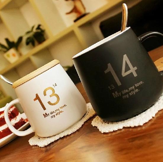 แก้วคู่ 1314 ขาวดำ สุดฮิตในเกาหลี <พร้อมส่ง>