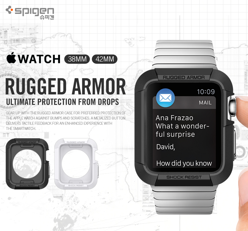 Spigen : Rugged Armor Ultimate Protection form Drops For Apple Watch (38mm) & (42mm)