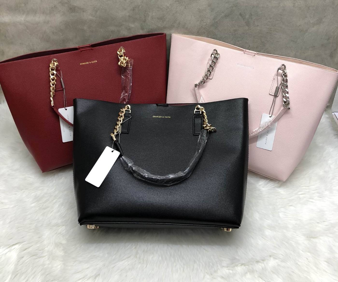 CHARLES & KEITH DOUBLE CHAIN STRAP TOTE BAG 2016