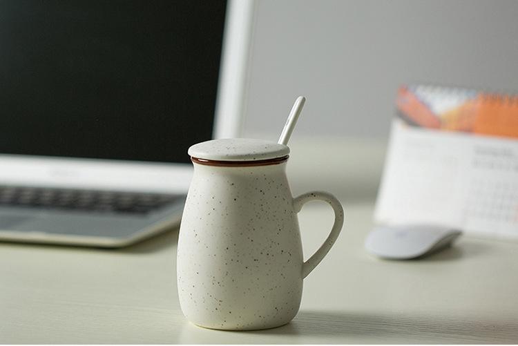 แก้วเซรามิคทรงถังนมสีขาวสไตล์วินเทจ < พร้อมส่ง >