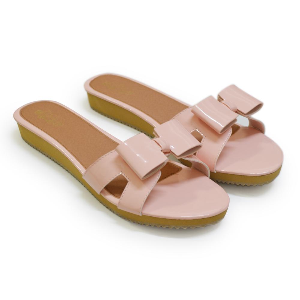 [พร้อมส่ง] ไซส์ 39-46 รองเท้าแตะไซส์ใหญ่ พื้นหนา ติดโบว์สี่เหลี่ยม สีชมพู - CH0130