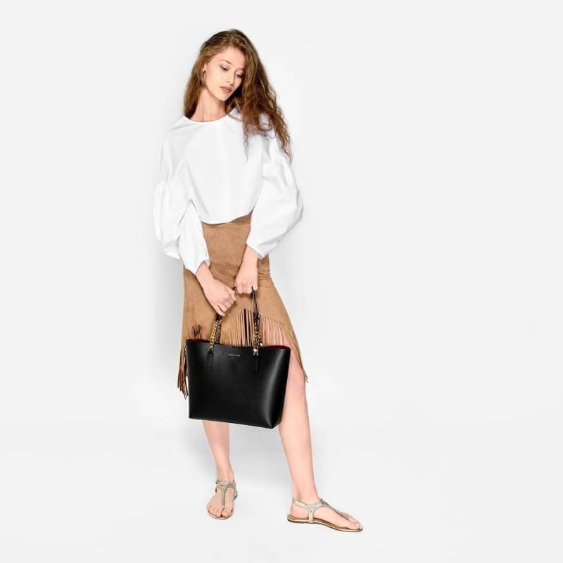 CHARLES & KEITH DOUBLE CHAIN STRAP TOTE BAG 2016 สีดำ