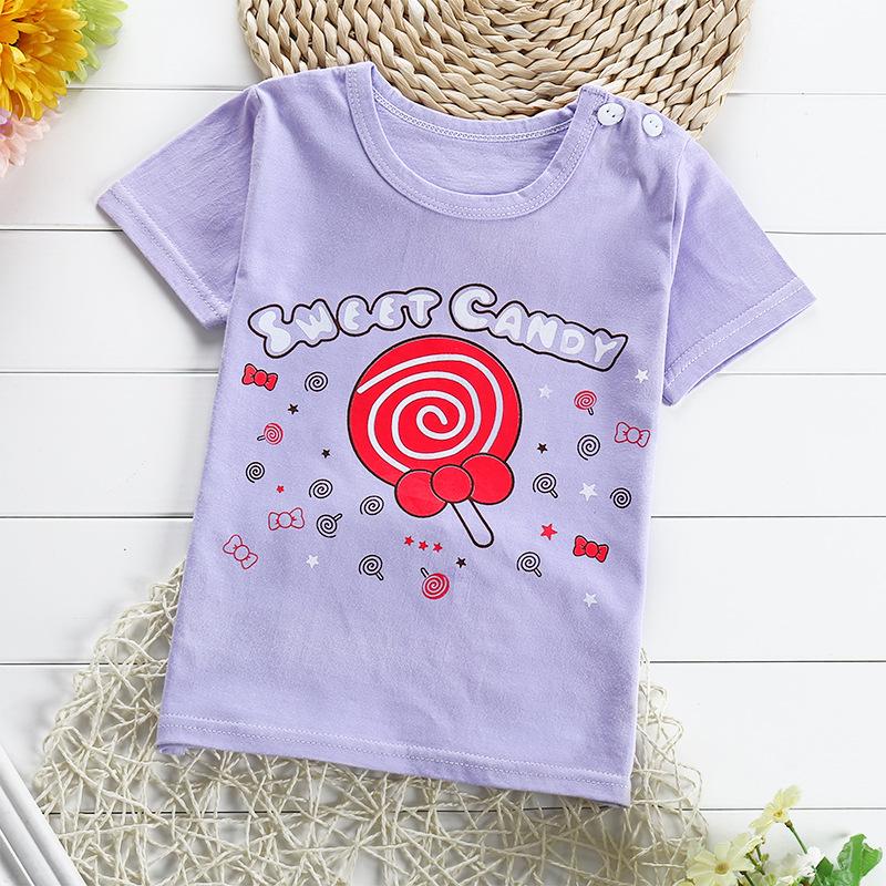 เสื้อยืดเด็กเล็ก Sweet Candy มีกระดุมข้างคอ สำหรับเด็กวัย 1-4 ปี