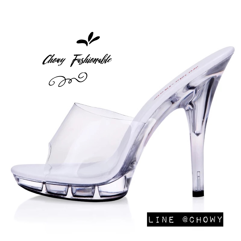 รองเท้าแก้วส้นสูงไซส์ใหญ่ 42-45 สูง 4.5 นิ้ว พลาสติกใส สีขาว รุ่น KR0539