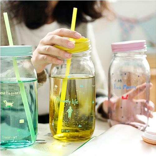 ขวดโหลแก้วพร้อมหลอด ฝาปิดสี < พร้อมส่ง >
