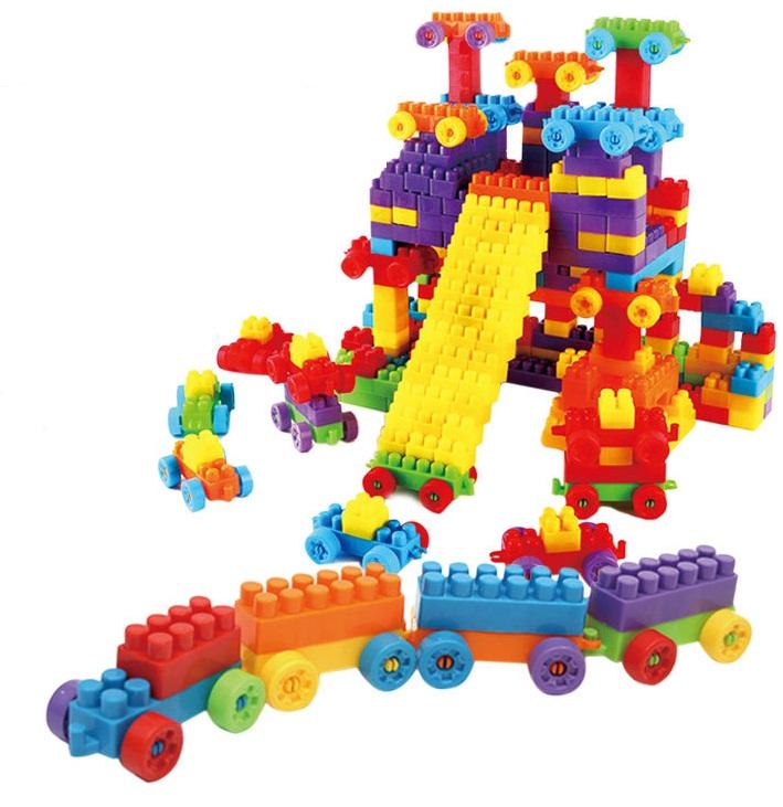 ของเล่นบล็อคตัวต่อเลโก้ชิ้นใหญ่สำหรับเด็กเล็ก แบบถังหิ้ว 180 ชิ้น