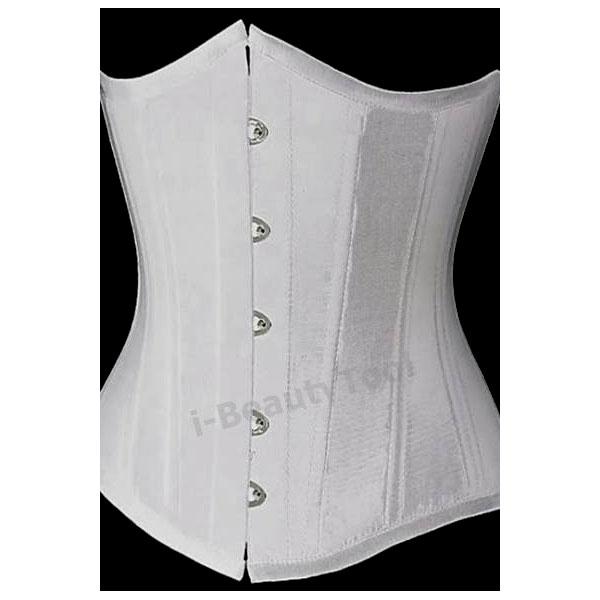 คอร์เซ็ท Corset ครึ่งตัวสีขาว แบบเรียบ ผ้าซาติน กระชับเอวและหน้าท้อง โดยเฉพาะ คุณภาพเยี่ยม