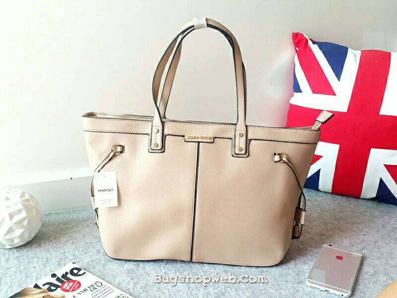 MANGO SAFFIANO EFFECT SHOPPER BAG กระเป๋า ใบใหญ่ หนังลาย saffiano ทรง shopper ขนาดกำลังดี