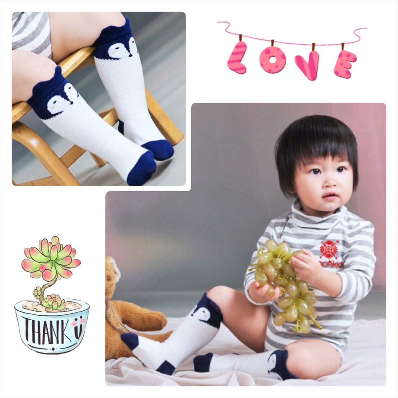 SK106••ถุงเท้าเด็ก•• จิ้งจอก/สีขาว (ข้อยาว)