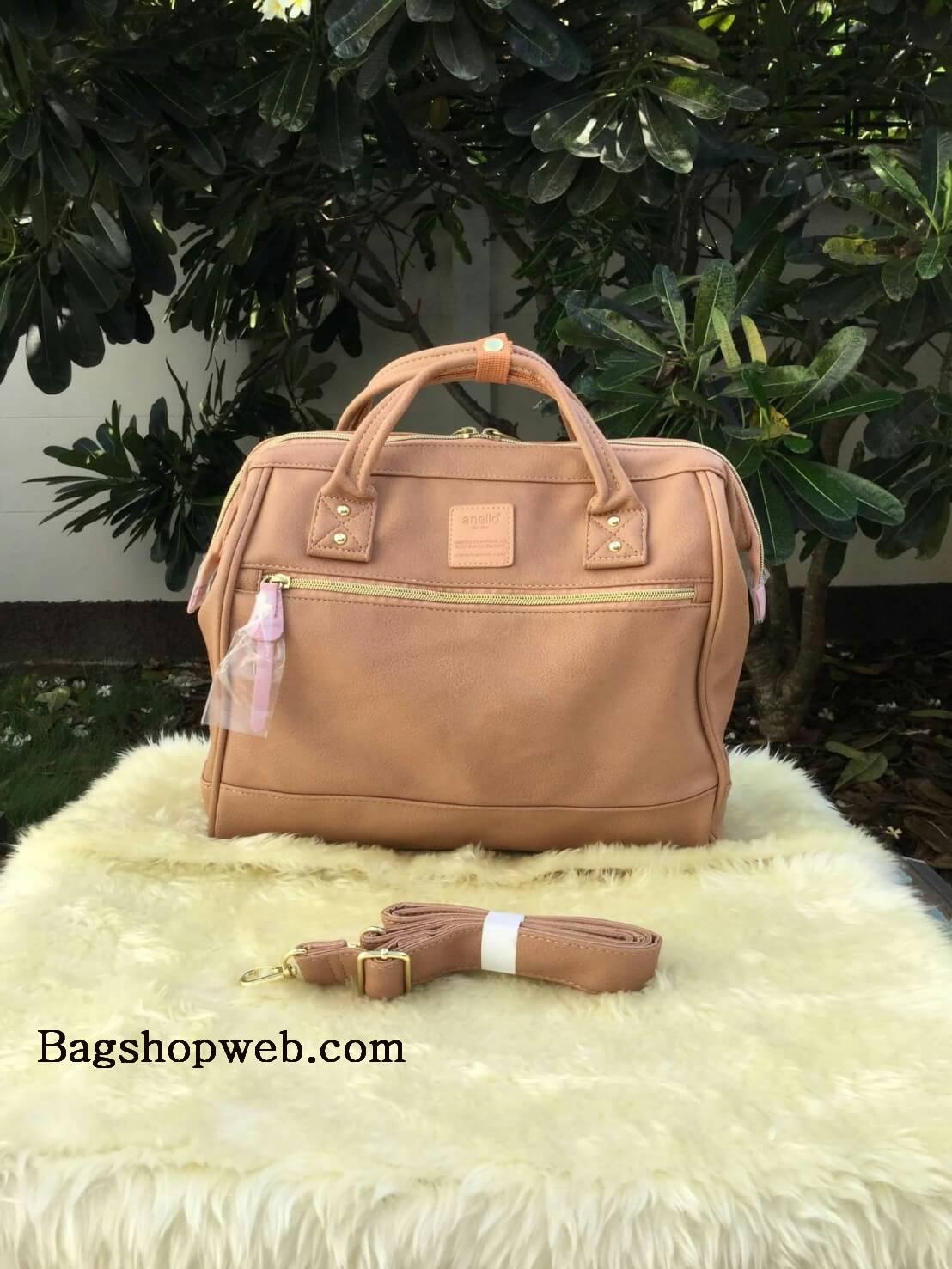 กระเป๋าเป้ ANELLO 2 WAY PU LEATHER BOSTON BAG (Regular)----- Pink