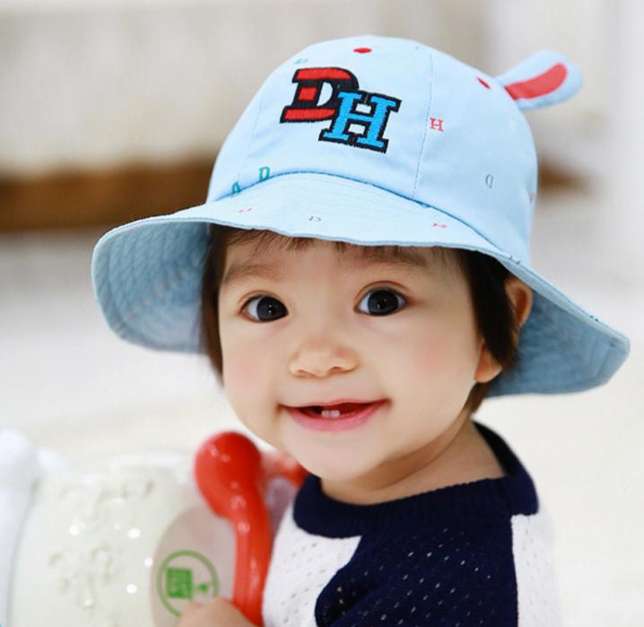 HT484••หมวกเด็ก•• / หมวกปีกกว้าง-DH (สีฟ้า)