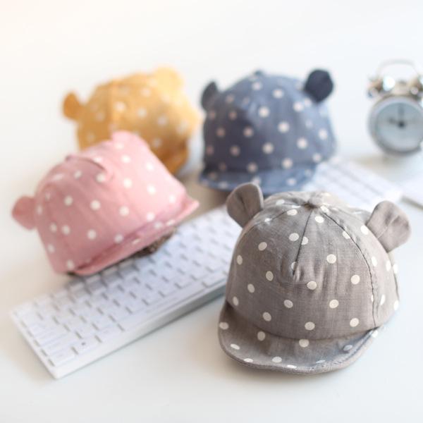 หมวกแก็ปเด็กเล็ก หูหมี ลายจุด น่ารัก วัย 3-18 เดือน