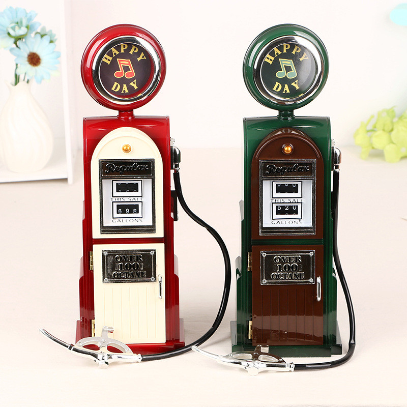 กล่องดนตรีปั๊มน้ำมัน Retro fuel pump music box
